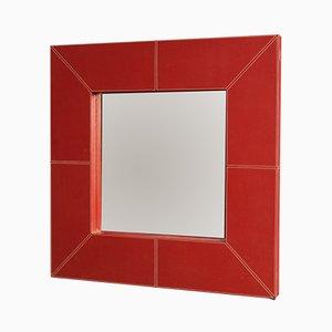 Espejo italiano de cuero sintético rojo, años 80