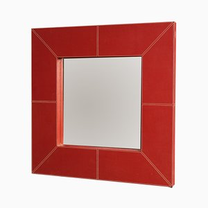 Italian Red Faux Leather Mirror, 1980s