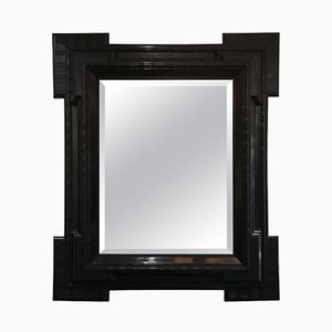 Large Antique Flemish Mirror with Ebonized Ripple Frame