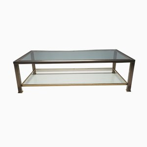 Vintage Brass 2-Tiers Coffee Table with Cut Glass from Belgo Chrom, 1980s