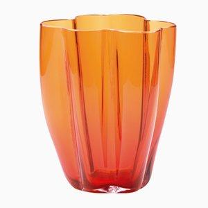Kleine orangene Petalo Vase von Alessandro Mendini für Puhro