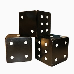 Black Lacquered Dice Shaped Coffee Tables, 1970s, Set of 3