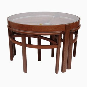 Vintage Teak Round Coffee Table with Nesting Tables