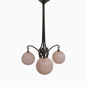 Lampe à Suspension Art Déco avec 3 Globes en Verre