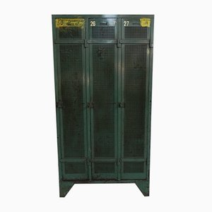 Mid-Century Industrial Steel Locker with 3 Doors