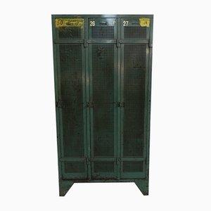 Taquilla industrial mid-Century de acero con tres puertas