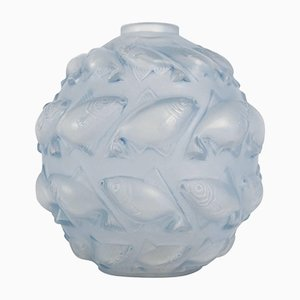 Patinierte Vintage Camaret Blue Vase von René Lalique