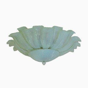 Lámpara de techo floral de cristal de Murano opalino de Mazzega, 1982