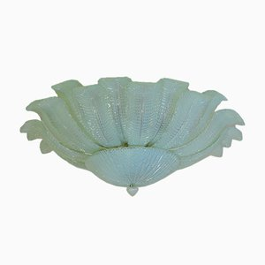 Opaline Murano Glass Flower Ceiling Lamp from Mazzega, 1982