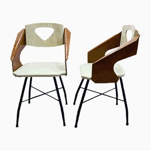 Curved and Laminated Plywood Chairs by Carlo Ratti for Industria Compensati Curvati, 1950s, Set of 2