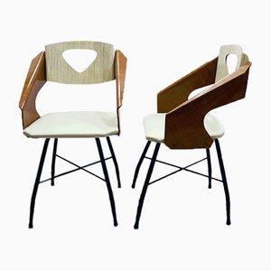 Geschwungene laminierte Stühle aus Schichtholz von Carlo Ratti für Industria Compensati Curvati, 1950er, 2er Set