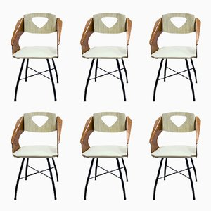 Curved and Laminated Plywood Chairs by Carlo Ratti for Industria Compensati Curvati, 1950s, Set of 6