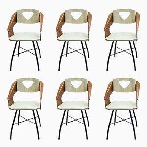 Geschwungene laminierte Stühle aus Schichtholz von Carlo Ratti für Industria Compensati Curvati, 1950er, 6er Set