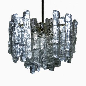 Vintage Ice Glass Chandelier by J.T. Kalmar