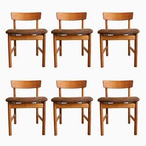 3236 Stühle aus Eiche mit Sitzpolster aus Wildleder von Børge Mogensen für Fredericia Stølefabrik, 1950er, 6er Set