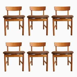 Oak and Suede Chairs 3236 by Børge Mogensen for Fredericia Stølefabrik, 1950s, Set of 6
