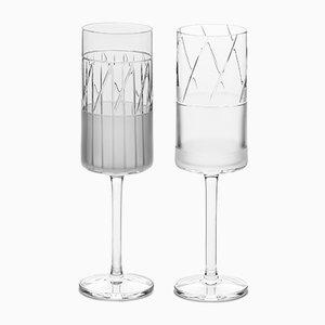 Flûtes à Champagne Série N°I Artisanales en Cristal de Scholten & Baijings, Irlande, Set de 2