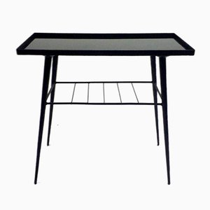 Glass & Hand-Wrought Iron Side Table, 1970s