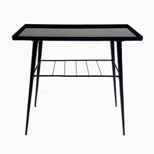 Tavolino in vetro e ferro battuto a mano, anni '70