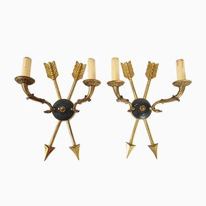 French Empire Style Brass & Steel Wall Lights, 1950s, Set of 2