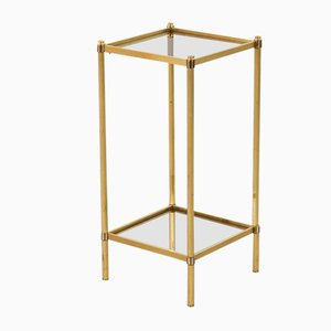 Two-Tiered Brass & Smoked Glass Side Table, 1970s
