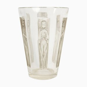 Jarrón vintage con seis figuras de René Lalique