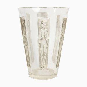 Vintage Vase mit 6 Figurinen von René Lalique