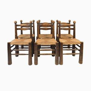 Sedie da pranzo in quercia con sedute in paglia, anni '50, set di 6