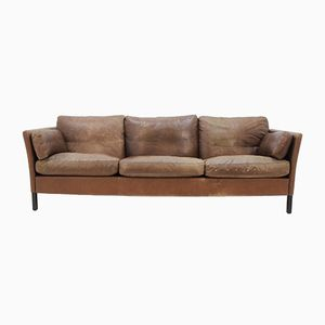 Danish Three Seater Sofa in Brown Leather by Georg Thams, 1960s