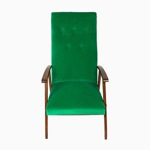 Vintage Green Velvet Armchair, 1960s