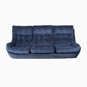 Navy Blue Velvet Atlantis Sofa, 1960s