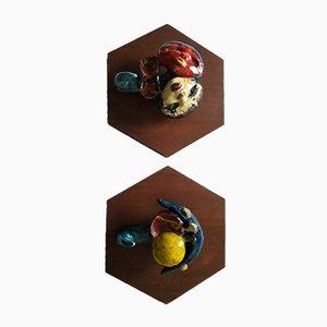 Kleiderhaken aus Keramik von Urso für Stil Keramos, 1950er, 2er Set