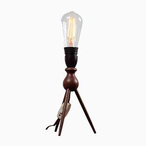 Vintage Teak Three Legged Table Lamp