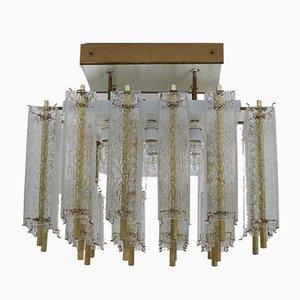 Große Mid-Century Deckenlampe mit Strukturglas & Messinggehäuse, 1960er