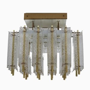 Large Mid-Century Ceiling Lamp with Structured Glass and Brass Frame, 1960s