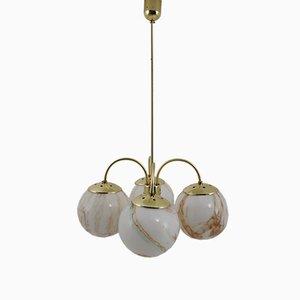 Lampada a sospensione in ottone e marmo, anni '70