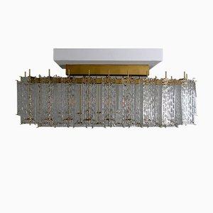Lampada da soffitto grande con 28 tubi in vetro e struttura in ottone, anni '60