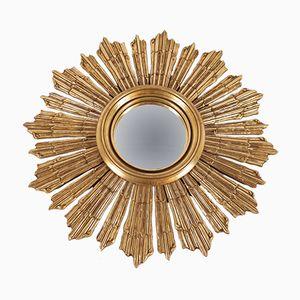 Convex Gilded Wood Sun Mirror, 1960s