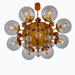 Mid-Century Chandelier with Patinated Brass Fixture, 1950s