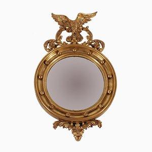 Espejo convexo vintage grande dorado con águila