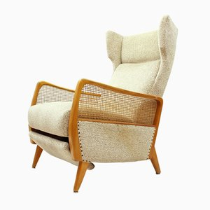 Reclining Cherrywood & Wool Lounge Chair, 1960s