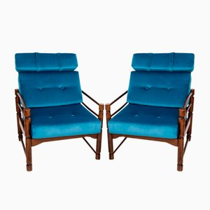 Vintage Petrol Blue Armchairs, Set of 2