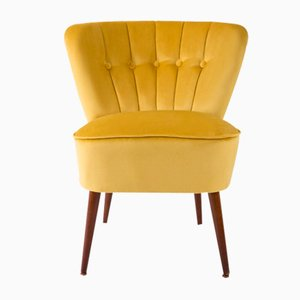 German Yellow Velvet Club Armchair, 1960s