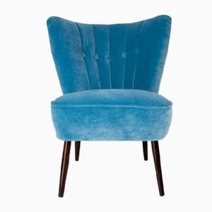 Mid-Century Baby Blue Velvet Armchair, 1960s