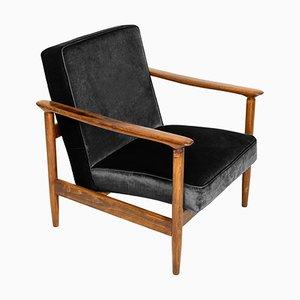 Schwarzer GFM-142 Sessel aus Samt von Edmund Homa, 1960er