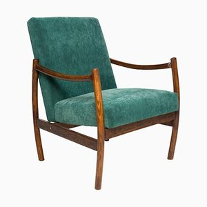 Dark Green Velvet Club Armchair, 1960s