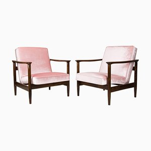 Baby Pink Velvet GFM-142 Armchairs by Edmund Homa, 1960s, Set of 2