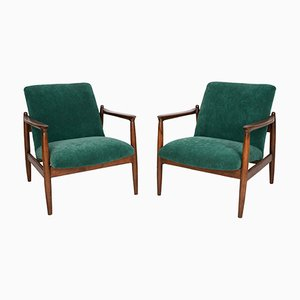 Dark Green Velvet Armchairs by Edmund Homa, 1960s, Set of 2