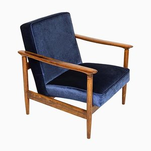Dark Blue Velvet GFM-142 Armchair by Edmund Homa, 1960s