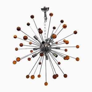 Lampadario Sputnik arancione in vetro di Murano di Italian light design